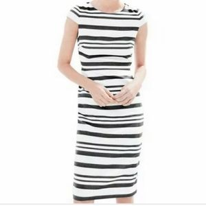 Jcrew double stripe cap sleeve dress